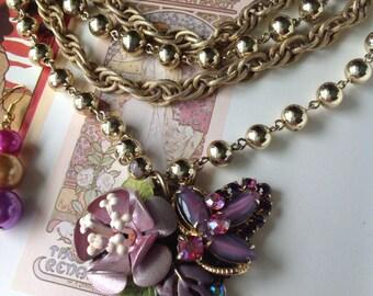 Vintage Handmade Ooak Lavender Bloom Enamel Flower AB Rhinestone Multi Strand Necklace Earrings Set