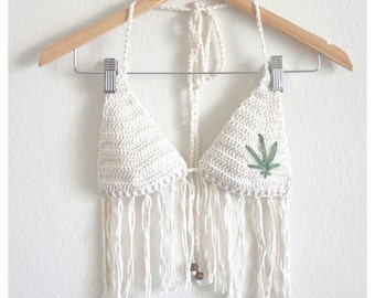 Classic Cotton Crochet Top with Fringe - Natural Undyed Cotton - Pot Leaf Bikini Top - Handmade Vegan Clothing - Noelebelle - Made to Order
