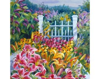 Garden Painting Original Oil on Board 8x10 Floral Artwork Flower Lilies Wall Decor by Janet Zeh Original Art