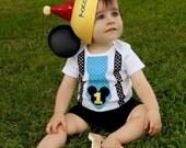 Baby Mickey Mouse 1st Birthday Tie and Suspenders Bodysuit for Baby Boy Disney Vacation Outfit Birthday Party Outfit
