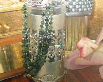 Green Tourmaline & Sterling Deco Bracelet
