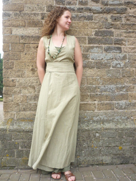 MADE TO ORDER: linen pagan Avalon gown with waist band / belt.Robe dress maxidress historical priestess fairy witch