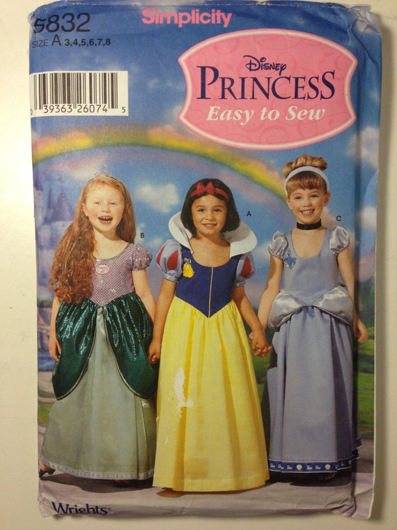 Simplicity Sewing Pattern 5832 or 0616 Disney Princess Ariel, Snow White and Cinderella Size 3-8