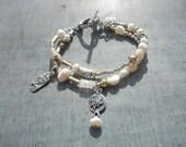 Artisan, Silver, 14k Gold Fill, Pearl, Double Strand, Bracelet