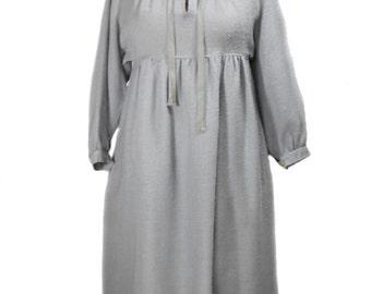 vintage 1970s J. TIKTINER peasant dress / Cote D'Azur Nice France / gray / wool / festival boho bohemian / women's vintage dress / size 6