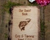 Wedding Guest Book or Words of Wisdom Book Rustic and Personalized Custom Guest Book with Fish