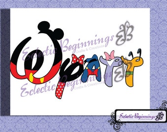 Personalized and Custom Disney Name Letters Digital File, DIY Print Iron On-Mickey Mouse Minnie Mouse, Donald Duck, Daisy Duck, Pluto, Goofy