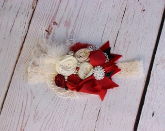 Red Ivory Christmas headband- Baby Headbands- Baby Girl Headband-Red Baby Headbands- Headband-Avry Couture Creations