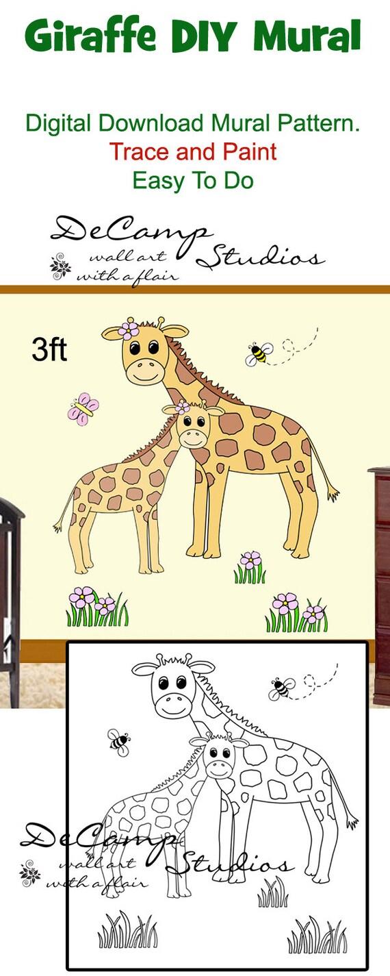 diy giraffe mural wall pattern printable digital download trace
