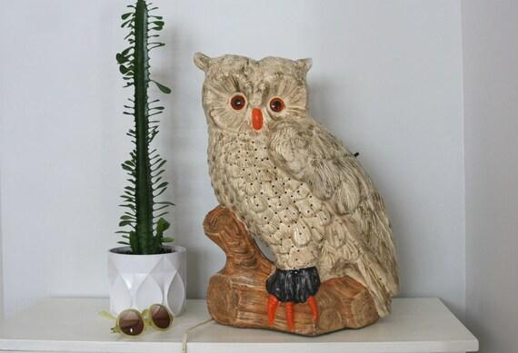 RESERVED Large Mid Century Ceramic Owl Lamp 21'' Atlantic Mold Company