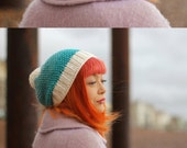 Hand Knitted - Bamboo & Wool Mix - ombré - Ice Blue Hat