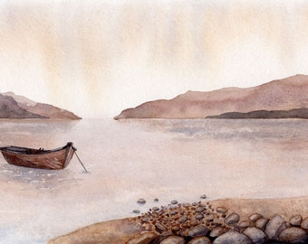 Original watercolor, boat painting, Contemplative seascape, natural beiges and browns, beach house decor. 12 x 16 inches mat