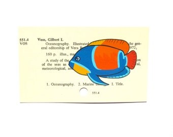 Tropical Fish on Library Card - Print of my painting of a tropical fish on a library card for the book Oceanography