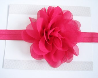 Hot Pink Chiffon Flower Headband, Baby Headbands,  Headbands, Baby Girl Headbands, Infant Headbands, Baby Bows