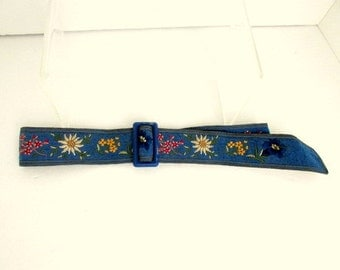 SALE Vintage Blue Flower Embroidered Belt Wool Cotton Switzerland