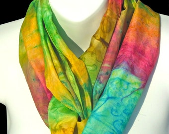 Rainbow Bright SILK SCARF. Hand Painted Silk Scarf by New York City artist Joan Reese/100%Silk/11''x60""