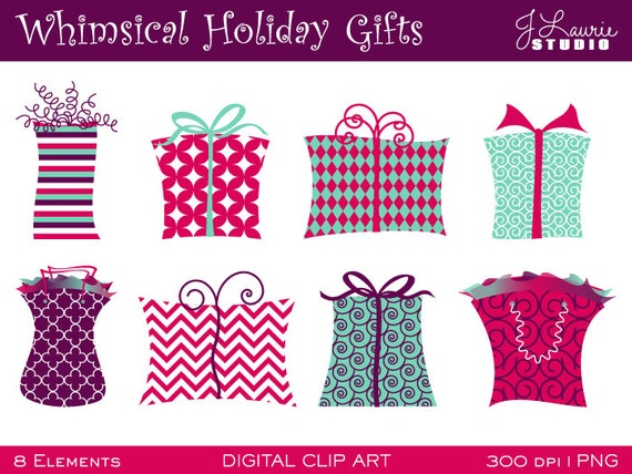 Digital Clipart-Whimsical Holiday Gifts-Holiday by ...