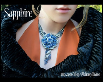 Bridal Necklace, Blue & Crystal Rhinestones, Escutcheon, Fringe, Statement Necklace. By Alchemy Divine Couture