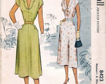 Vintage 1951 McCall 8423 Deep V-Neck Scalloped Collar Dress with Scalloped Pockets Sewing Pattern Size 16 Bust 34""