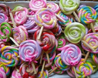 Lollipop Pendants, Colorful Cute Handmade Lollies,Wooden Sticks,Kawaii Dessert Candy Jewelry,You Choose Color,Sold Individually, 25mm-30mm