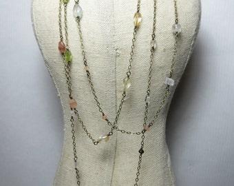Gemstone necklace, Peridot, Citrine, Aquamarine, Multi-gemstone long layered necklace, wrap necklace, semi precious stone