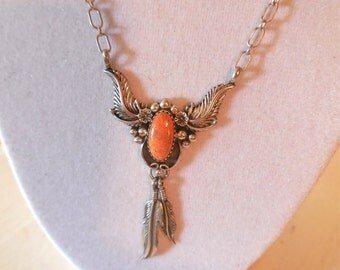 Vintage 90s Native American Sterling Necklace Dangling Feathers with Orange Stone Signed