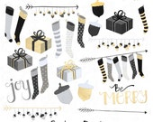 Modern Christmas Clip Art in Black, White and Gold