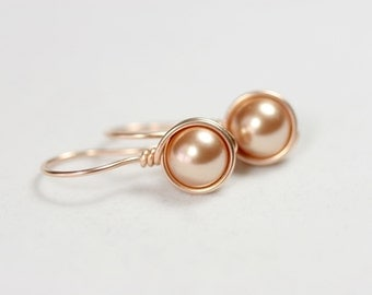 Rose Gold Earrings Wire Wrapped Jewelry Handmade Pink Gold Earrings Pearl Drop Earrings Rose Gold Pearl Earrings Rose Gold Jewelry