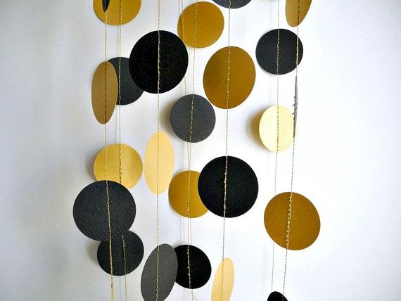 Gold black shimmer party garlandholiday circle garland dots for Gold dot garland