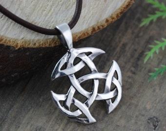 Sterling silver Celtic Knot Necklace for Men, Mens Jewelry, Celtic Knot on Leather Or Sterling silver chain, Irish Jewelry Celtic Jewelry