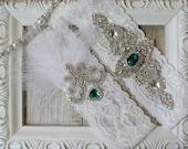 "Wedding garter - Vintage Garter Set w/ ""Emeralds"" and Rhinestones on Comfortable Lace, Christmas Wedding Garter Set, Crystal Garter Set"