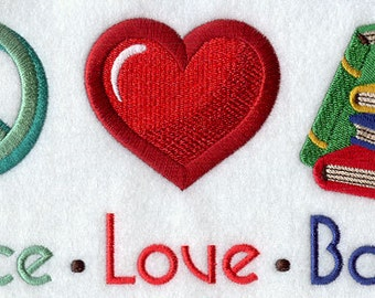 Peace Love Books - Embroidered on 100% Organic Cotton 12 x 16 Pillow Cover - Choice of Colors