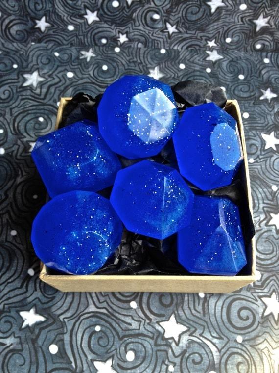 Black Currant Pomegranate Soap Jewels (Organic) Glycerin Soap, 6 Hand Soap, Blue Soap, Guest Soap