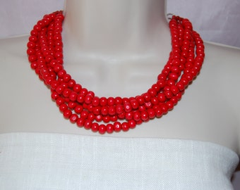 Red Statement Necklace Multi-Strand Wood Red Beaded Necklace Chunky Bold Wedding Jewelry Bridesmaids  Necklace
