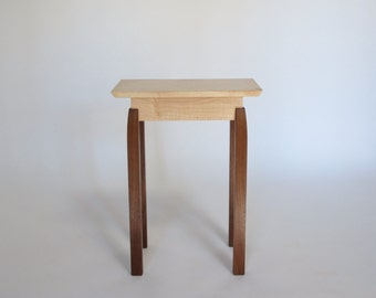 Narrow End Table   Small Wood Table Rectangular Shape, Handmade Tiger Maple  Table With Legs
