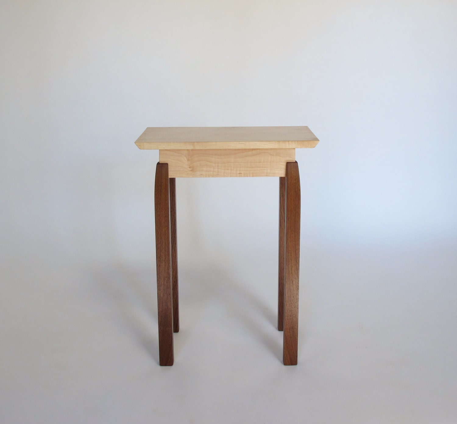 handmade end tables narrow end table tiger maple walnut handmade custom wood 4050