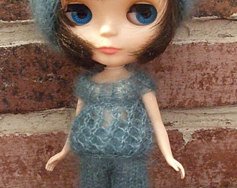 Blythe Top and Shorts- Hand Knit Lacy Ocean Blue and White Summer Shorts Set For Blythe