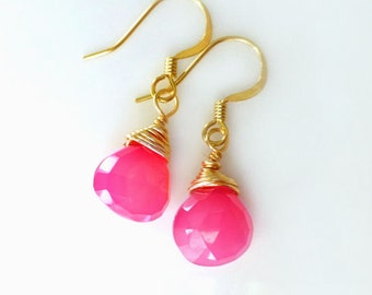 Hot Pink Gemstone Earrings, Chalcedony Teardrop Dangle Earrings For Women, Gift For Teenage Girl Under 30, Sterling Silver, 14k Gold Fill
