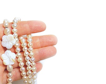 White Pearl necklace Bridal Pearl Asymmetrical Ivory Off White Shell Flower Bridal Party Pearl Wedding Jewelry