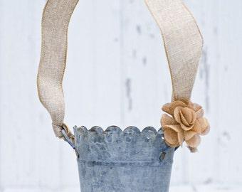 Burlap Flower Girl Bucket, Rustic, Cottage Chic, Vintage Weddings // R2S