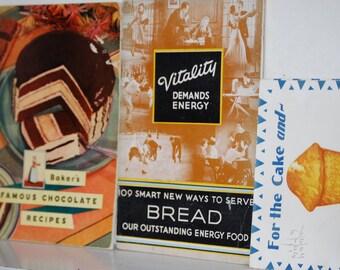 Vintage Cookbooks, Vitality Demands Energy, Baker's Famous Chocolate Recipes, Snowdrift