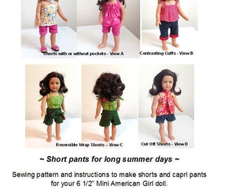Short Stuff - American Girl mini doll sewing pattern for shorts and capri pants - 6 LOOKS IN ONE!