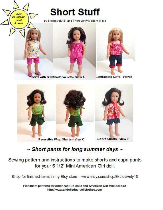 Short Stuff American Girl mini doll sewing pattern for