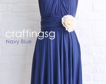 Bridesmaid Dress Infinity Dress Navy Blue Knee Length Wrap Convertible Dress Wedding Dress