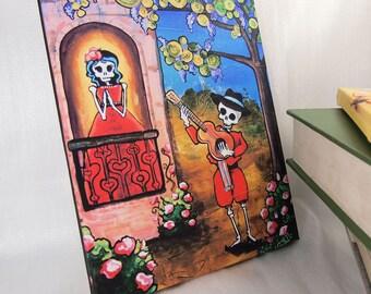 11x14 Mariachi Canvas print. Romantic Juliet Balcony Serenade Art. Day of the Dead Folk Decor. Calavera Musician Canvas Wall Art. Love Gift