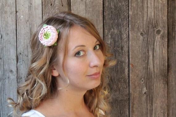 Hair clip polymer clay flower. rose pastel ranunculus.