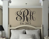 Monogram Wall Decal - Personalized Initials Monogram Letters - Bedroom Script Monogram Established Date Decals - Vinyl Wall Family Decor