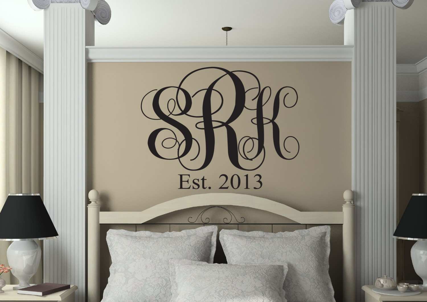 Monogrammed Wall Decor monograms monogrammed decal monogram wall decal bedroom
