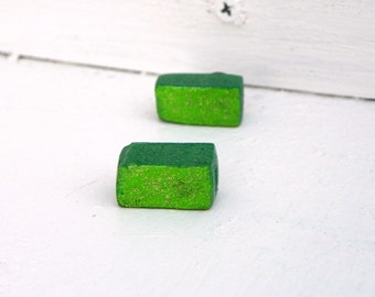 Glittery Green Rectangles!  ReCycled Wood Earrings Handmade One Of A Kind
