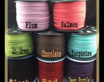 3mm x 1.5mm Faux Suede Leather Cord, You Pick the Color, 6 yds